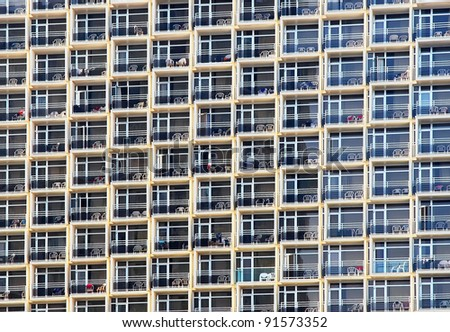 Windows of modern hotel (background) - stock photo