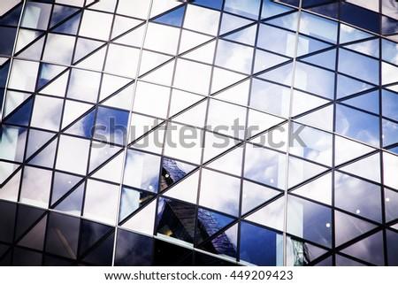 Windows of Skyscraper Business Office, Corporate building in London City, England, UK - stock photo