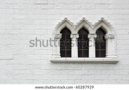 windows on white wall - stock photo