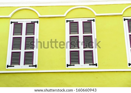 Windows overlooking the harbor - stock photo