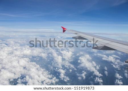 windows plane view - stock photo
