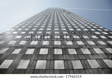 Windows Replaced with Wooden Slats after Hurricane Ike(Release Information: Editorial Use Only. Use of this image in advertising or for promotional purposes is prohibited.) - stock photo