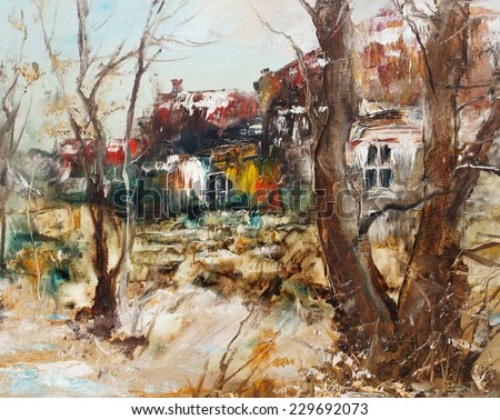 Windows, timber and roof in winter, oil painting                                - stock photo