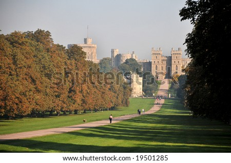 Windsor Castle and the Long Walk in Autumn - stock photo