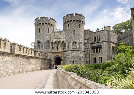 WINDSOR, UNITED KINGDOM - JUNE 6, 2014: Outside view of Medieval Windsor Castle  Windsor, England. Windsor Castle is a royal residence at Windsor in the English county of Berkshire. - stock photo