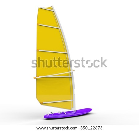 Windsurf board - yellow sail, isolated on white background, ideal for digital and print design. - stock photo
