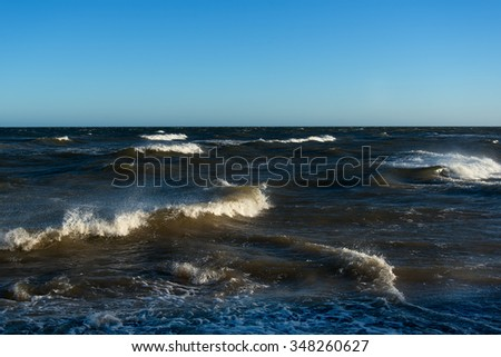 Windy day in Baltic sea. - stock photo