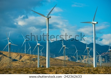 Windy Mountains Spot and Wind Turbines in Souther California Palm Springs Area. - stock photo