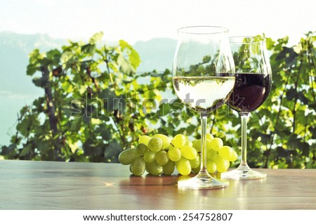 Wine ad grapes. Lavaux, Switzerland - stock photo