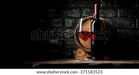 Wine and bricks - stock photo