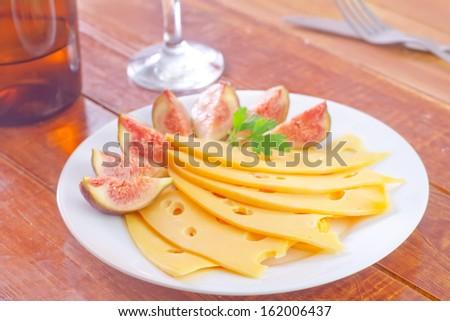 wine and cheese - stock photo