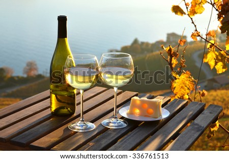 Wine and cheese. Lavaux, Switzerland  - stock photo