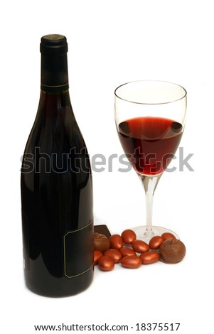 wine and chocolate isolated on white - stock photo