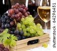 wine and grape composition - stock photo