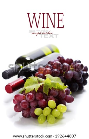 Wine and grape on wooden background. With easy removable sample text - stock photo