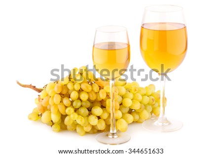 Wine and grapes isolated on white background. - stock photo