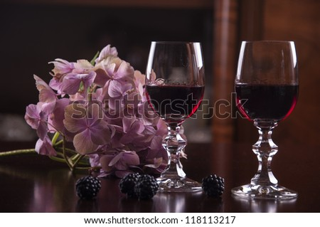 wine and hydrangea - stock photo