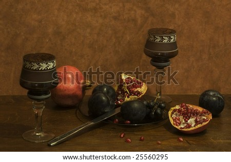 wine and pomegranate - stock photo