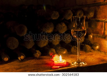 wine archive in wine cellar, Czech Republic - stock photo