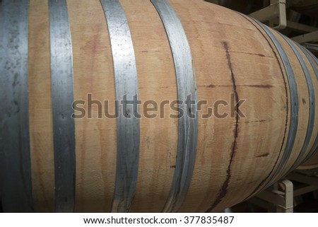 Wine Barrel Close Up in a Vineyard  - stock photo