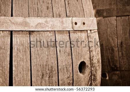 Wine Barrel in Old Cellar - stock photo