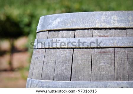 Wine Barrel in the Vineyard - stock photo