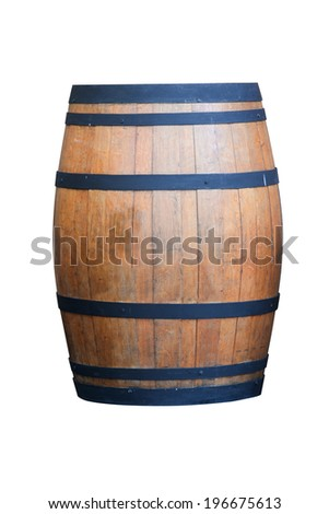 Wine barrel isolated on white with clipping path - stock photo