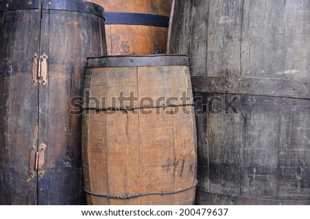 Wine Barrel of wood - stock photo