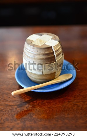 wine barrel on plate with tea spoon, wine lover concept. - stock photo