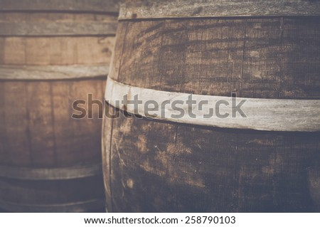 Wine Barrel with Vintage Instagram Film Style Filter - stock photo