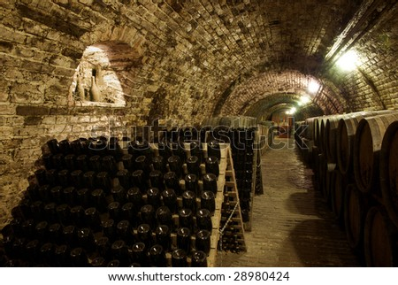 Wine barrels and bottles in the old cellar of the winery - stock photo