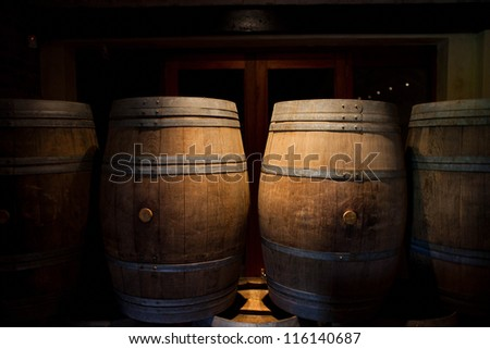 Wine barrels in a winery, Franschhoek, South Africa - stock photo