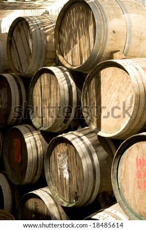 Wine barrels in spanish village - stock photo