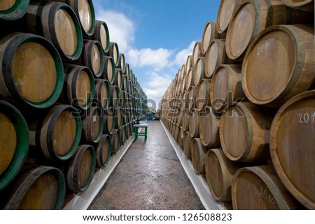 wine barrels in the open air - stock photo