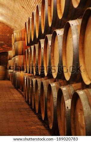 Wine barrels in wine-vaults in order  - stock photo