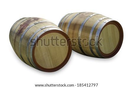 Wine Barrels Isolated - stock photo