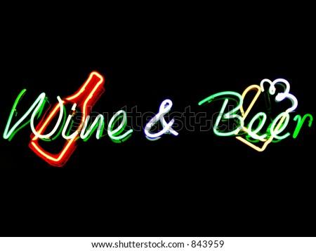 Wine & Beer neon sign - stock photo