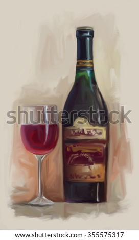 Wine bottle and glass digitally painted oil illustration - stock photo