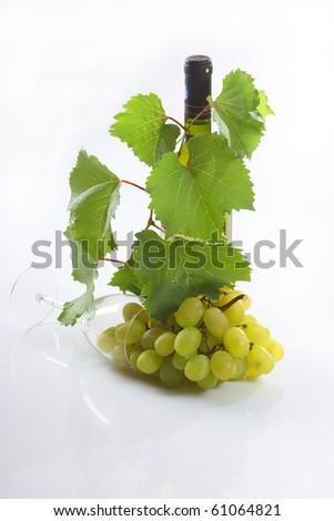 Wine bottle and  grape - stock photo