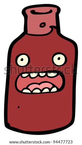 wine bottle cartoon character - stock photo