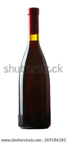 Wine bottle isolated on white - stock photo