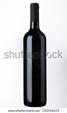Wine bottle Isolated on white background - stock photo