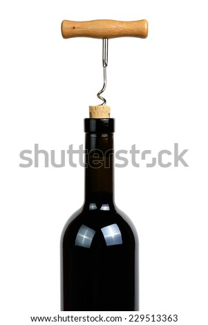 Wine bottle with corkscrew isolated on white background - stock photo
