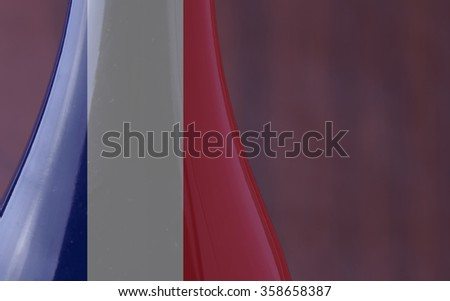 Wine bottle with French flag in strict close up, with copy space, horizontal image - stock photo