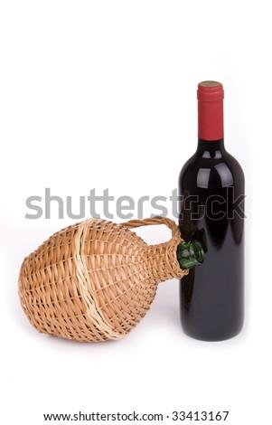wine bottle with jar - stock photo