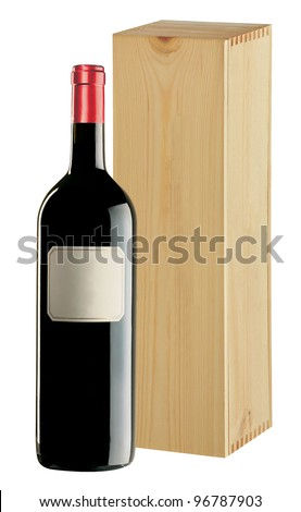 Wine bottle with wood gift box on white background - stock photo