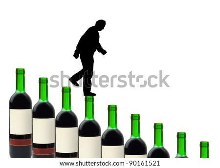 Wine bottles and alcoholic man isolated on white background - stock photo