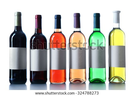 wine bottles in a row isolated on white background - stock photo
