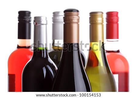 Wine bottles on a white background - stock photo
