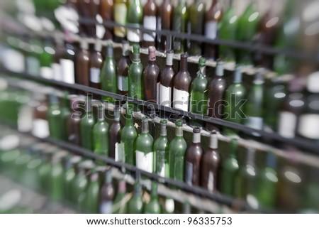 Wine bottlesi photo taken with lensbaby composer - stock photo